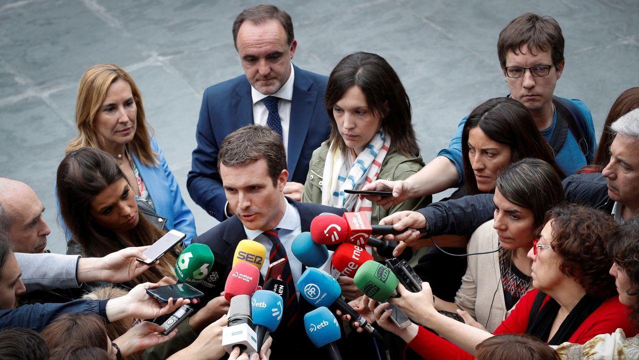 Pablo Casado visitó Pamplona para mostrar su apoyo a Javier Esparza, líder de UPN