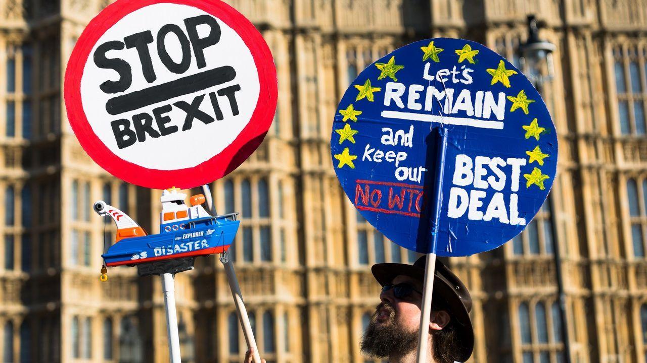 Un activista proeuropeo protesta ante el Parlamento de Westminster