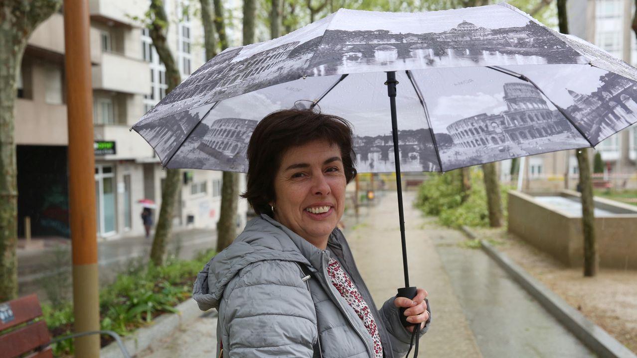 Podemos lleva los mensajes electorales a las vallas y marquesinas de autobús.Paloma Gázquez hace campaña en el mercado de Posada de Llanes