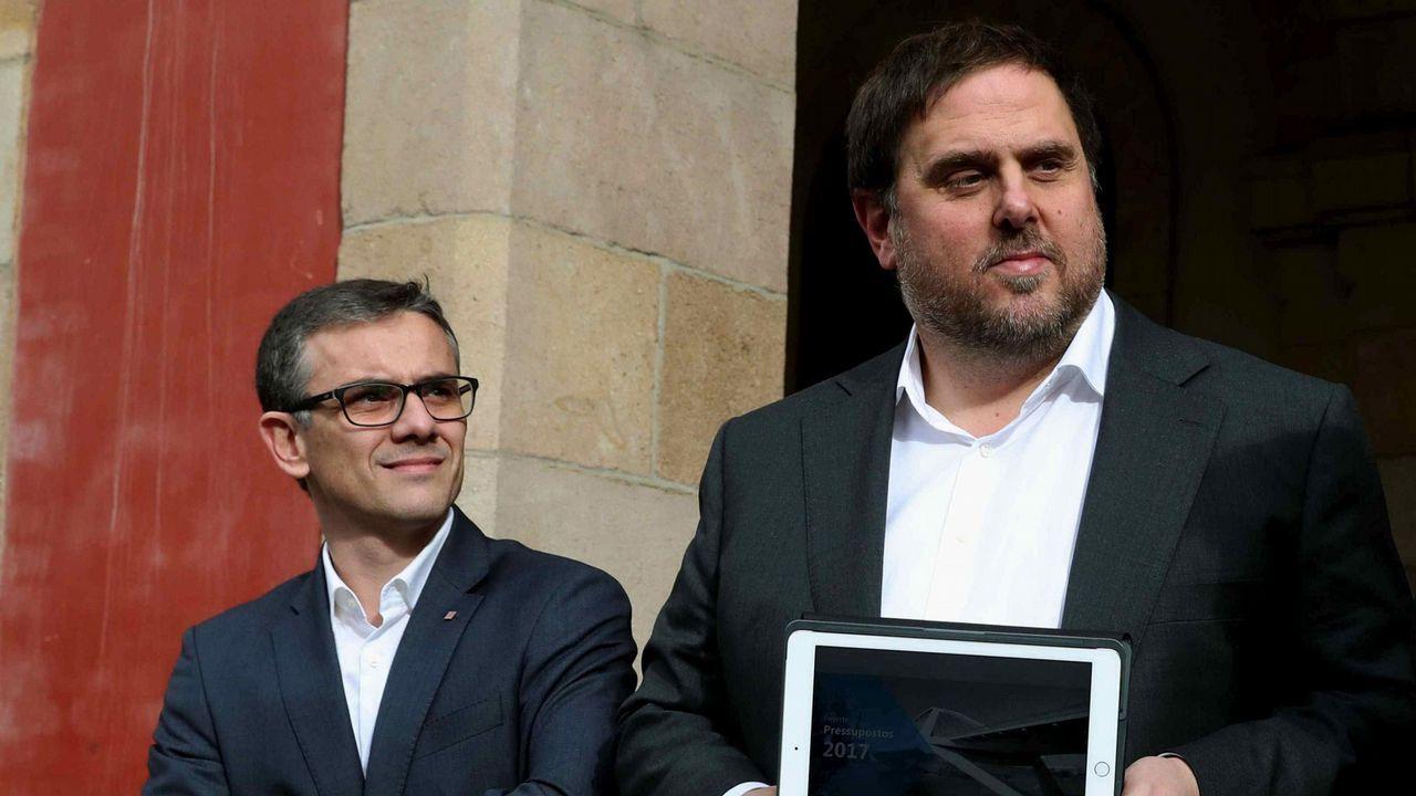 Josep Maria Jové Lladó, uno de los detenidos hoy, junto a Oriol Junqueras