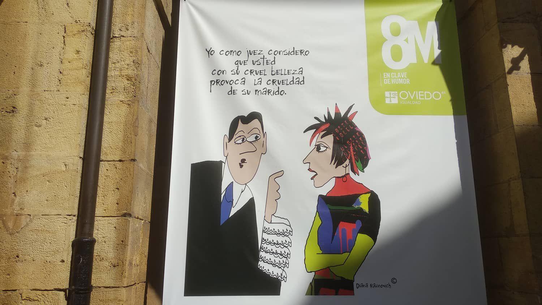 Cartel para el 8-M en el Ayuntamiento de Oviedo