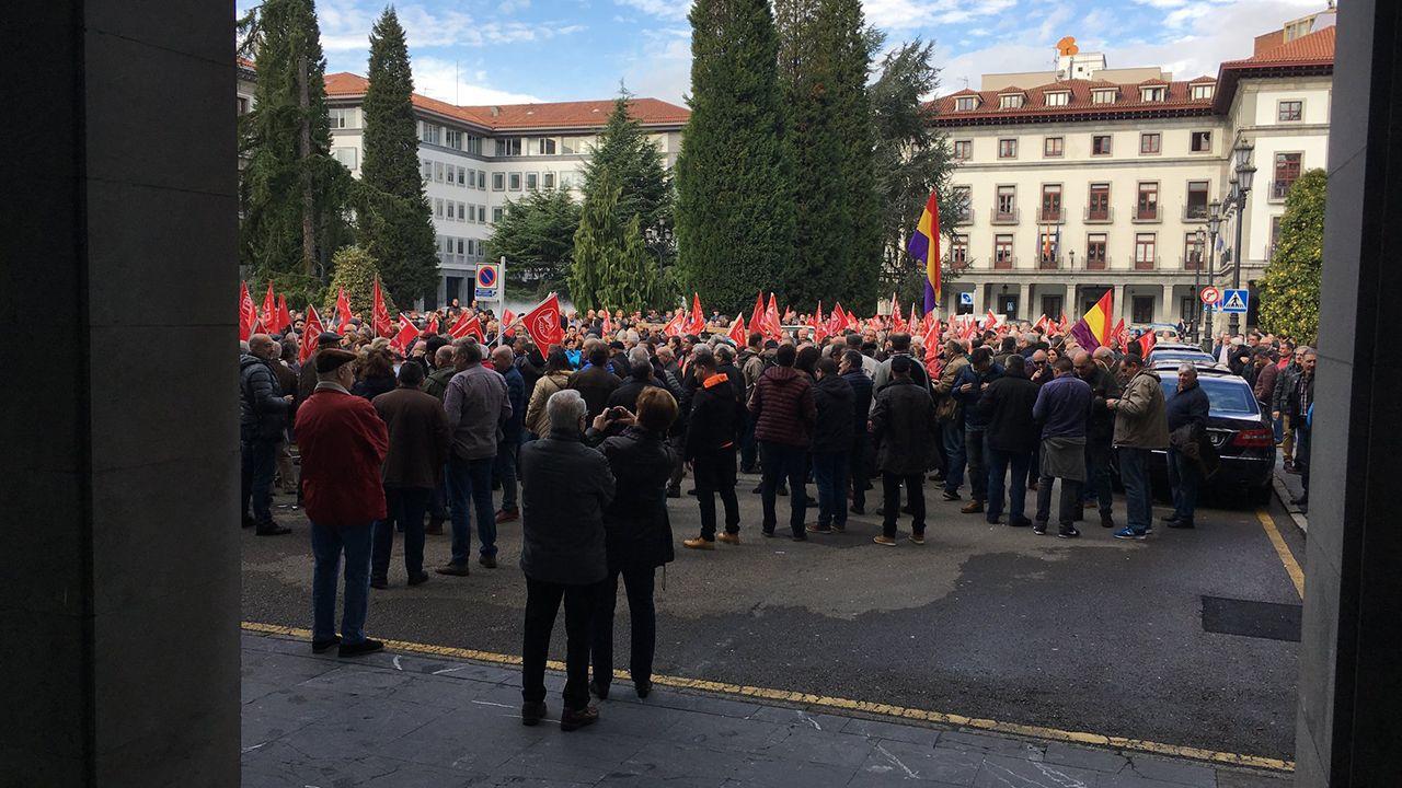 Manifestación del Primero de Mayo de 2018 en Asturias.Concentración en Oviedo en defensa de las pensiones