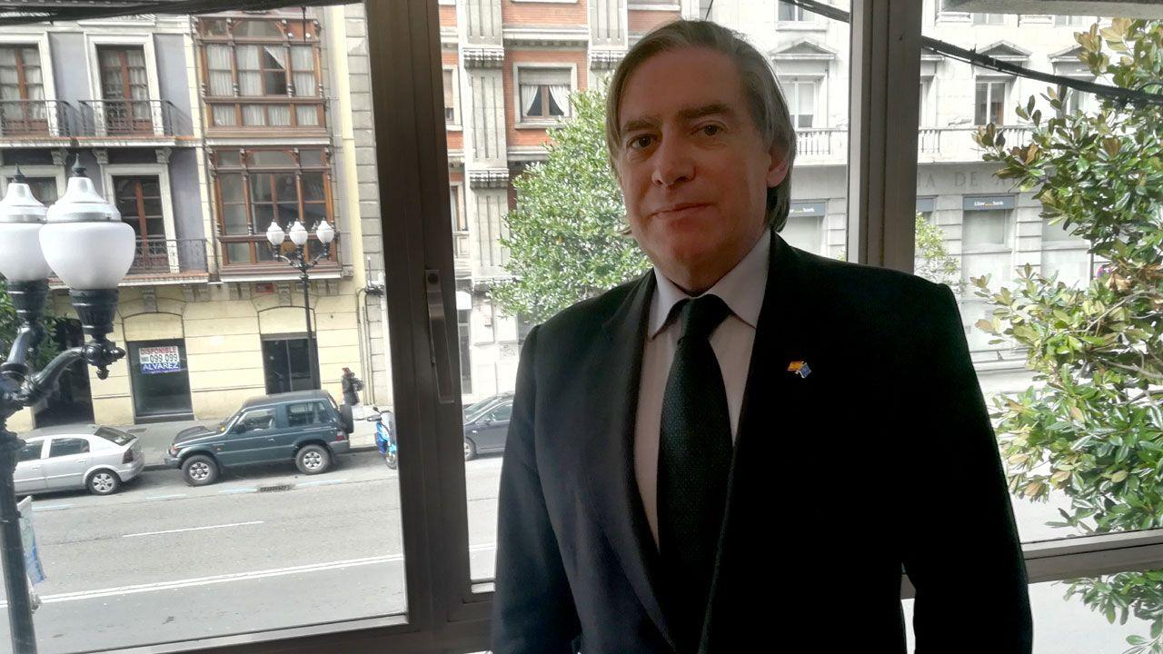 avión air nostrum.Alberto López-Asenjo, en la sede del PP gijonés