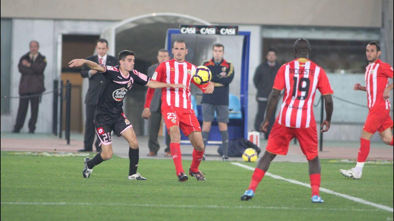 El día de su debut en primera frente al Almería