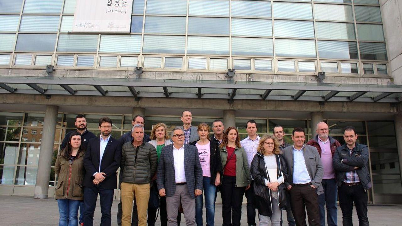 Ayuntamiento de Mieres.Los alcaldes de los concejos de las cuencas posan en el campus de Barredo, en Mieres.