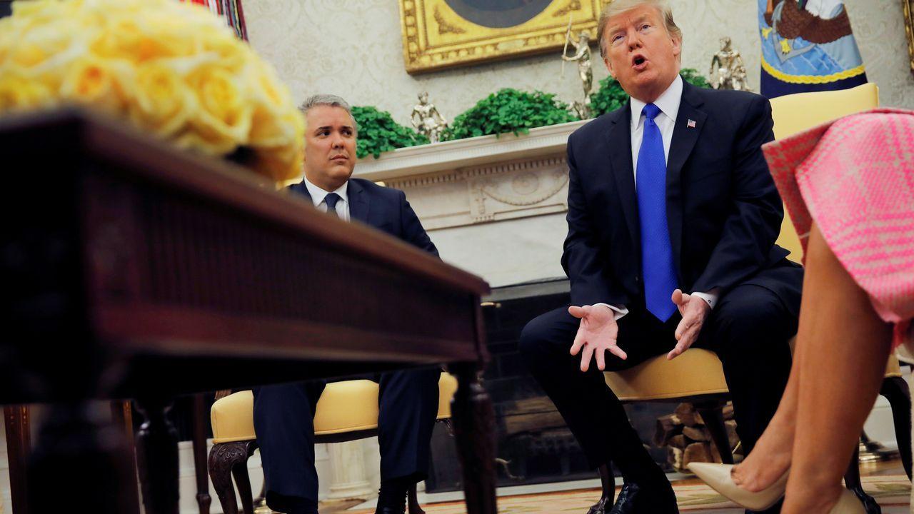 Iván Duque durante la reunión con Trump en la Casa Blanca