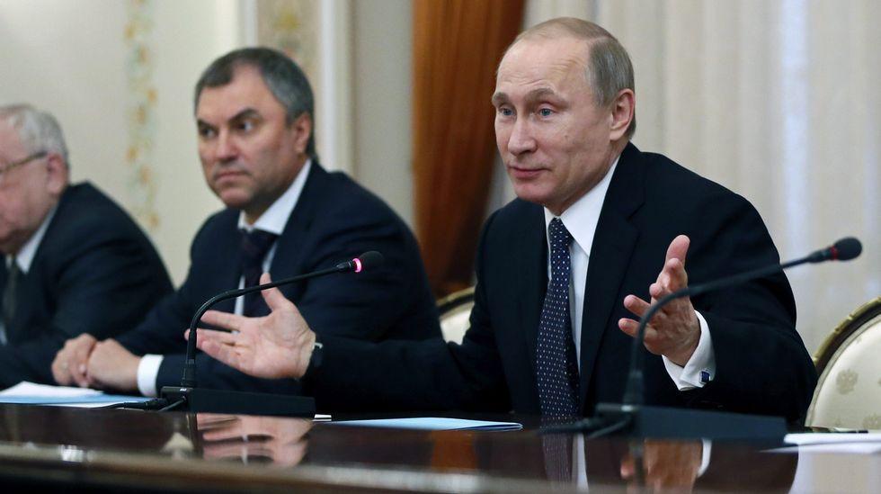 .Volodin y Putin, ayer durante el anuncio del cambio.