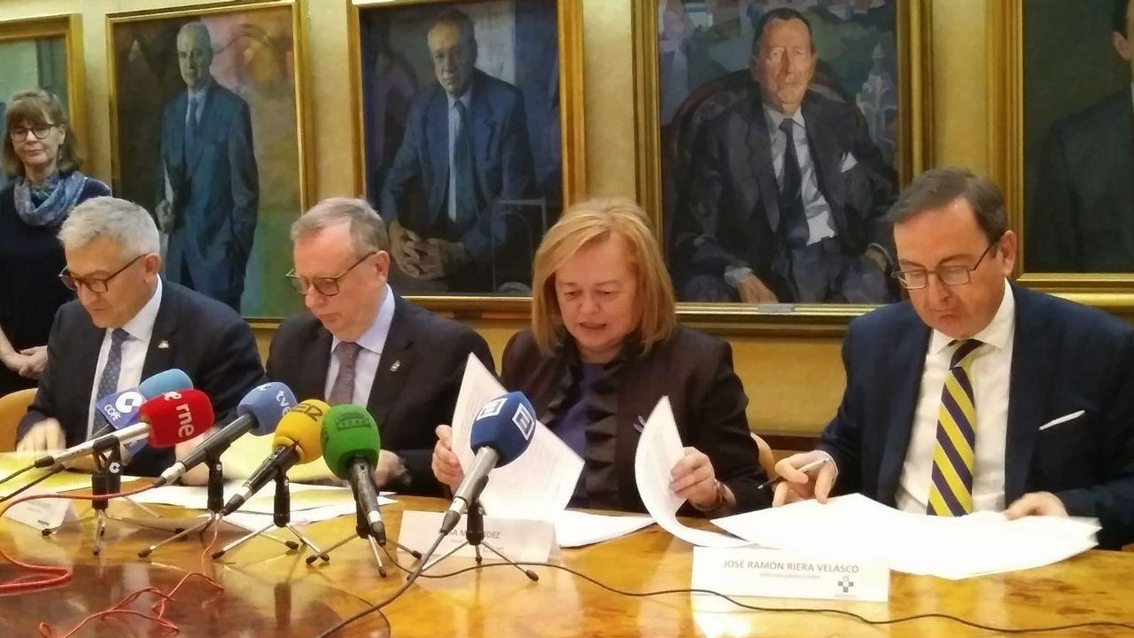 El rector de la Universidad de Oviedo, Santiago García Granda; el consejero de Sanidad, Francisco del Busto; y la presidenta del CSIC, Rosa Menéndez.