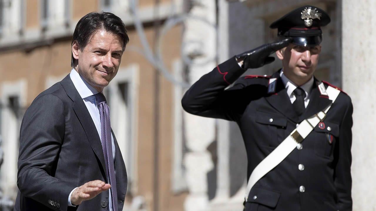 El jurista Giuseppe Conte a su llegada este jueves al Congreso de los Diputados en Roma