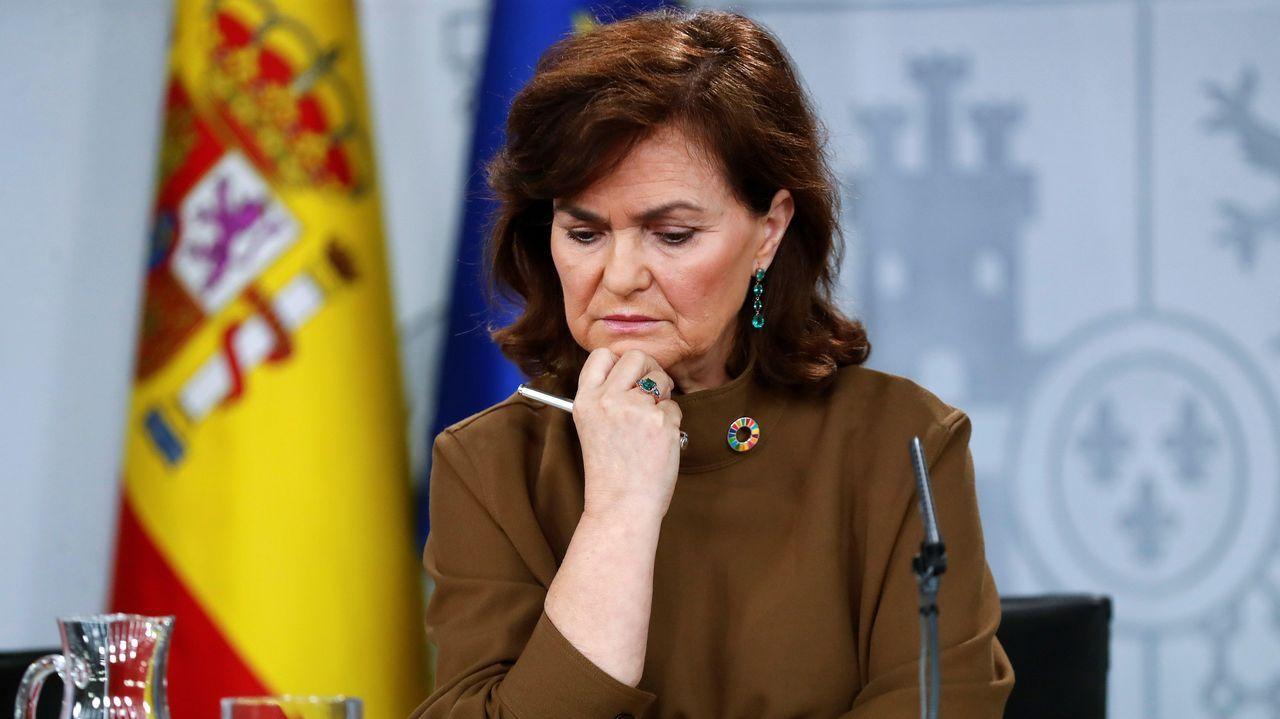 La vicepresidenta del Gobierno, Carmen Calvo, durante la rueda de prensa posterior a la reunión del Consejo de Ministros celebrada hoy