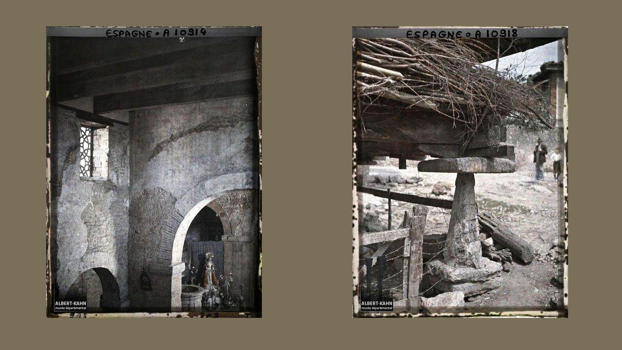 Interior de Santullano y detalle de hórreo