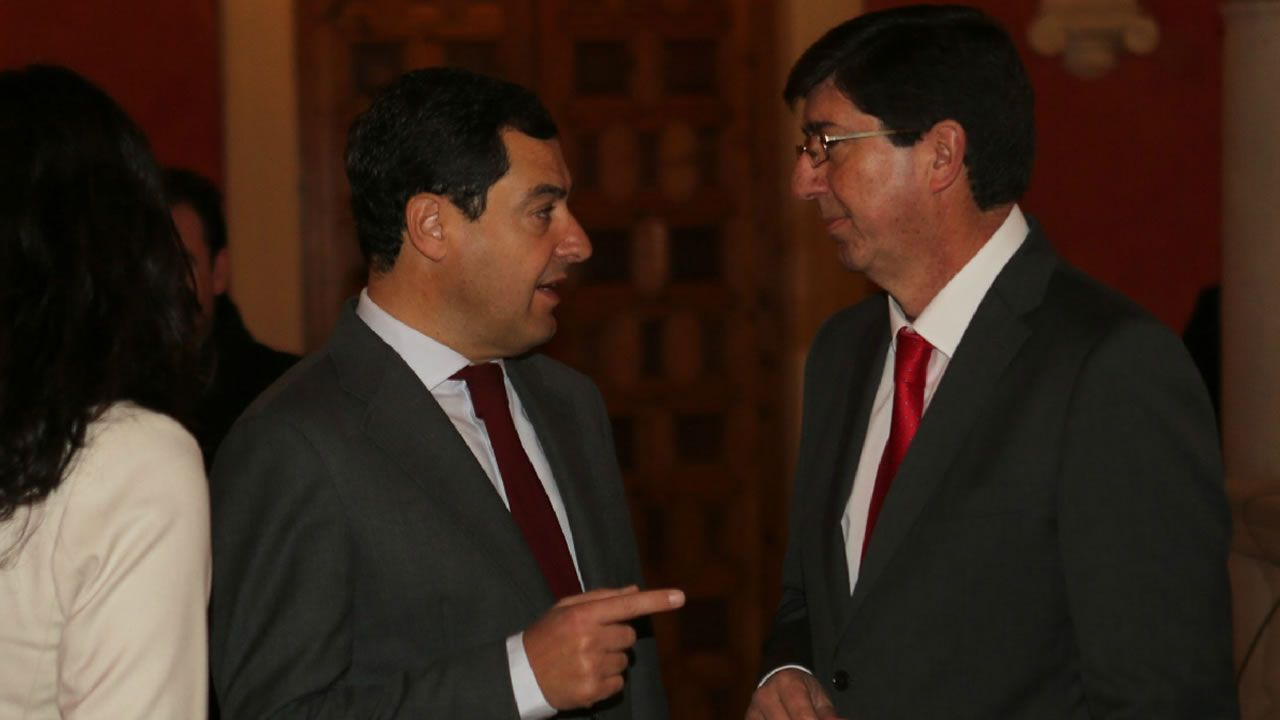 | EFE.Juan Manuel Romero (PP) y Juan Marín (Ciudadanos), en una imagen de archivo