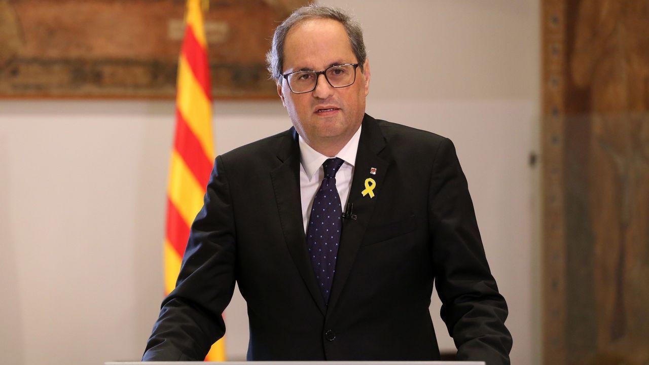 Torra, durante su discurso por el anivesario de la fallida declaración de independencia de Cataluña