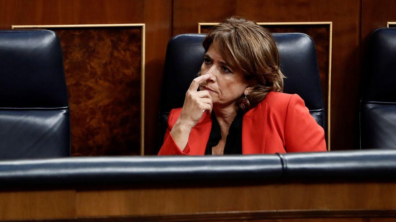 Las grabaciones de un almuerzo en el 2009 desvelan la relación entre Villarejo, Garzón y la ministra Delgado.La ministra de Justicia, Dolores Delgado, en una de sus intervenciones en el Congreso
