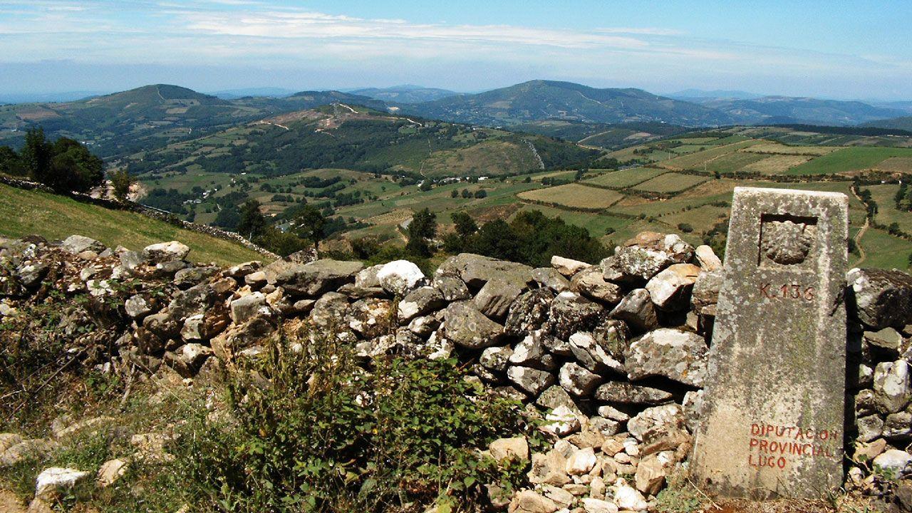 Camino de Santiago.Jóvenes scouts portugueses tras llegar al Obradoiro