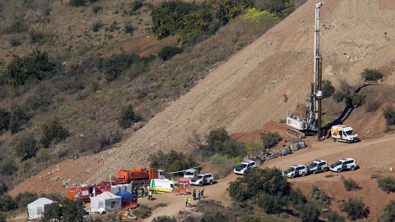 Vista del operativo desplegado para rescatar a Julen en Totalán