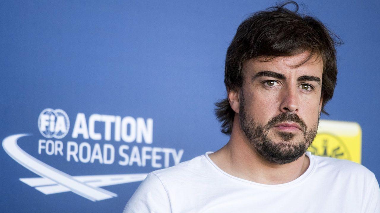 Fernando Alonso.Fernando Alonso tras el Gran Premio de Hungría.
