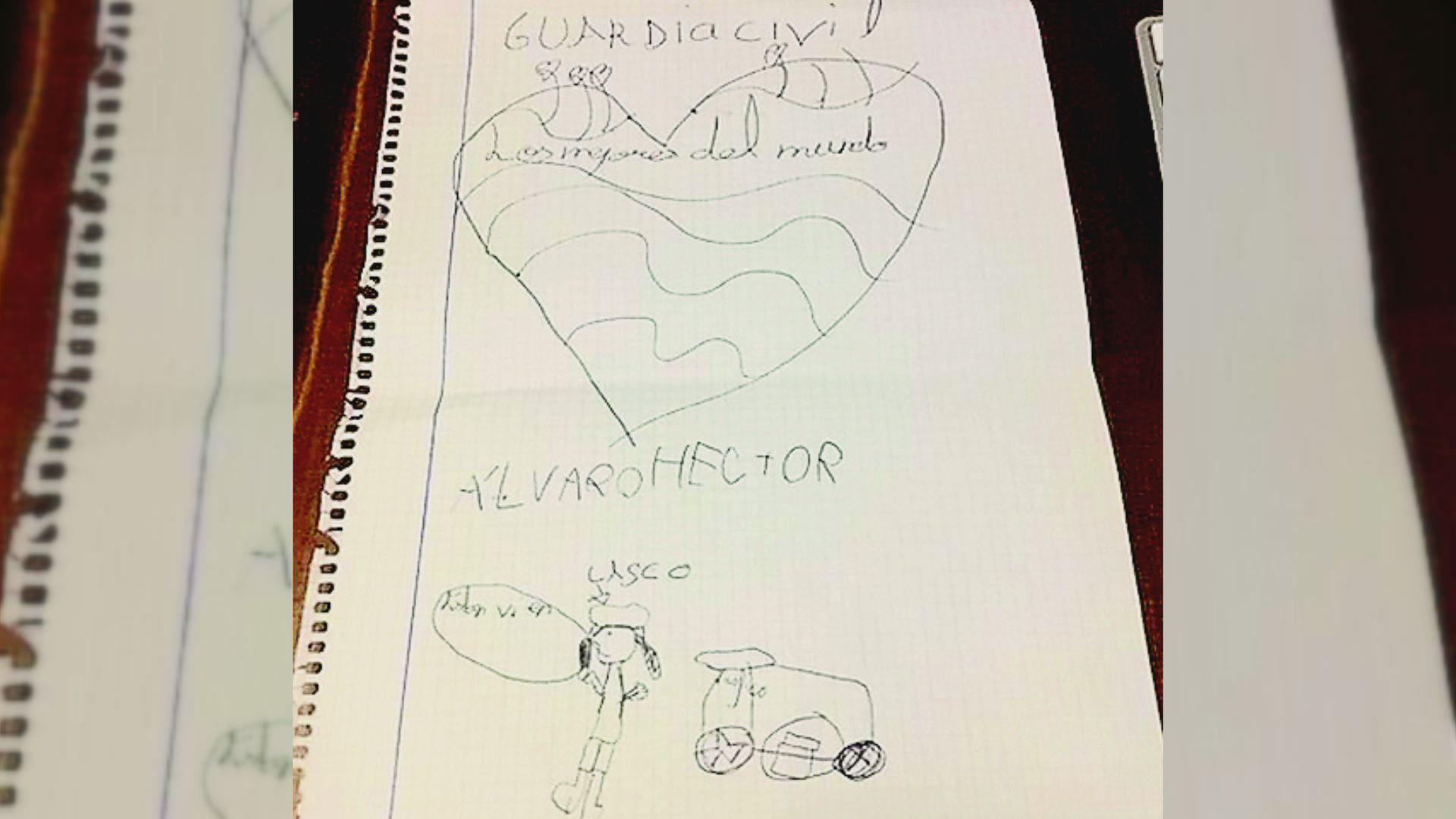 Dibujo que le hicieron a Rosario unos niños para agradecerle su trabajo