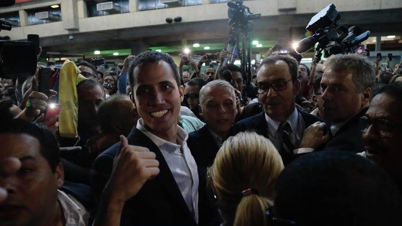 Juan Guaidó, a su llegada al Aeropuerto Internacional de Maiquetía Simón Bolívar