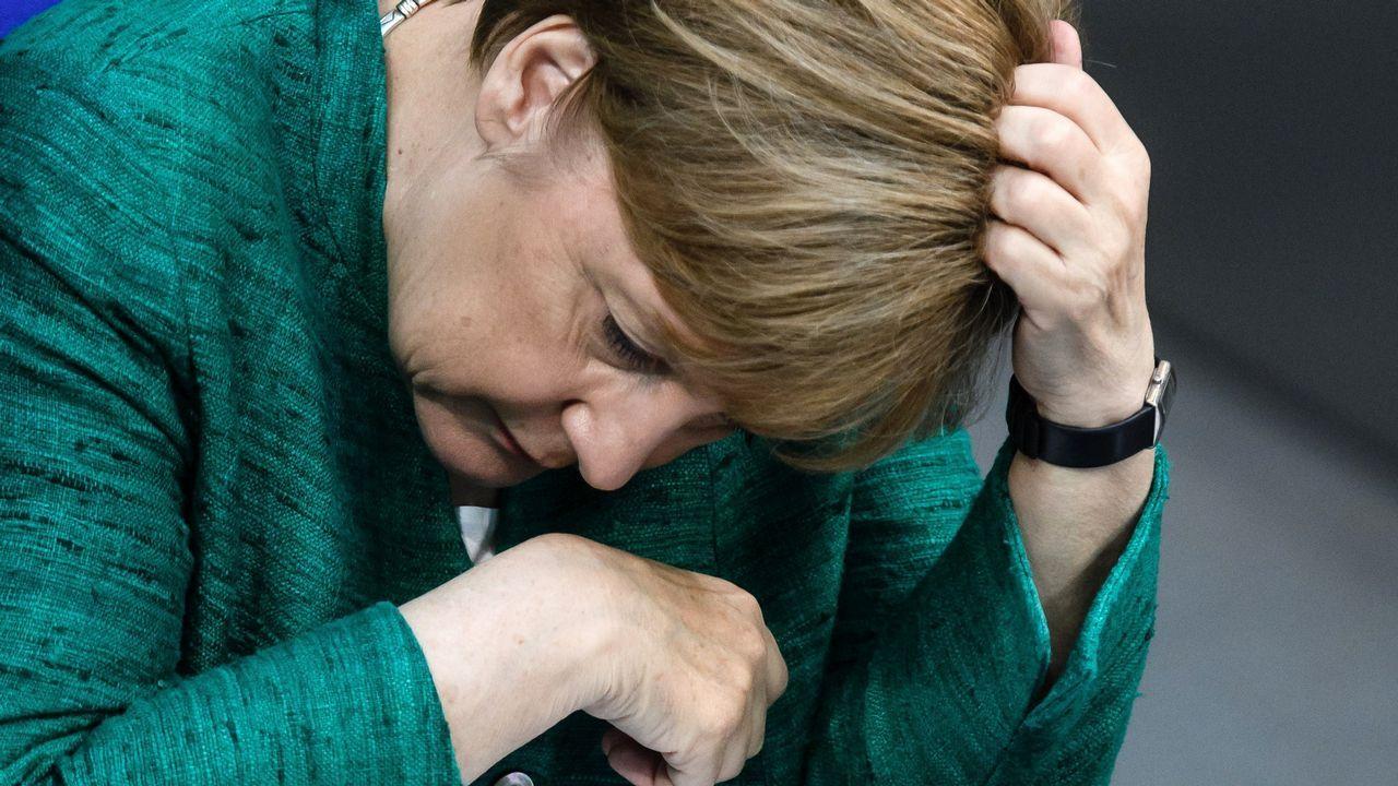 La canciller Angela Merkel, en el Bundestag de Berlín