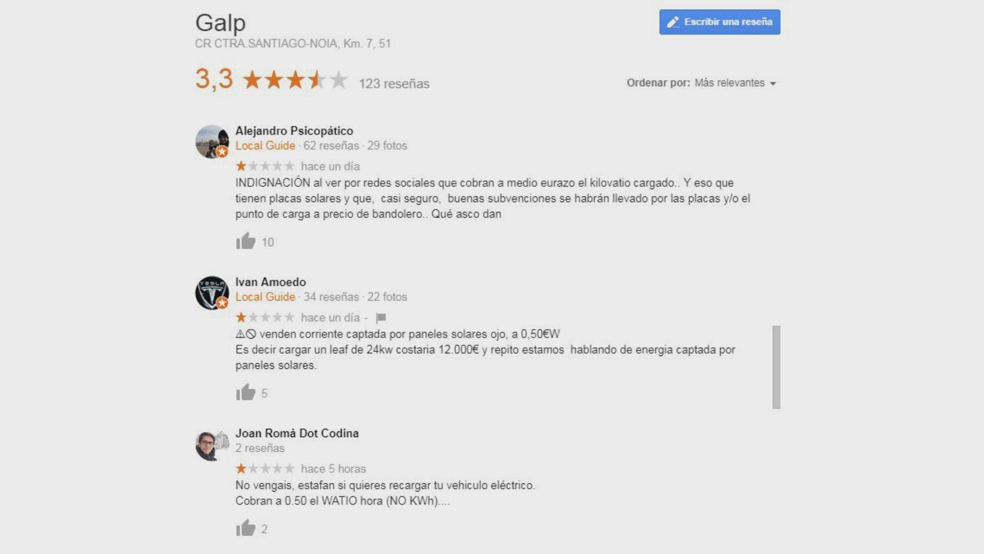 Captura de algunas de las reseñas de Google que provocó la publicación en La Voz de la ya conocida como «carga más cara del mundo»