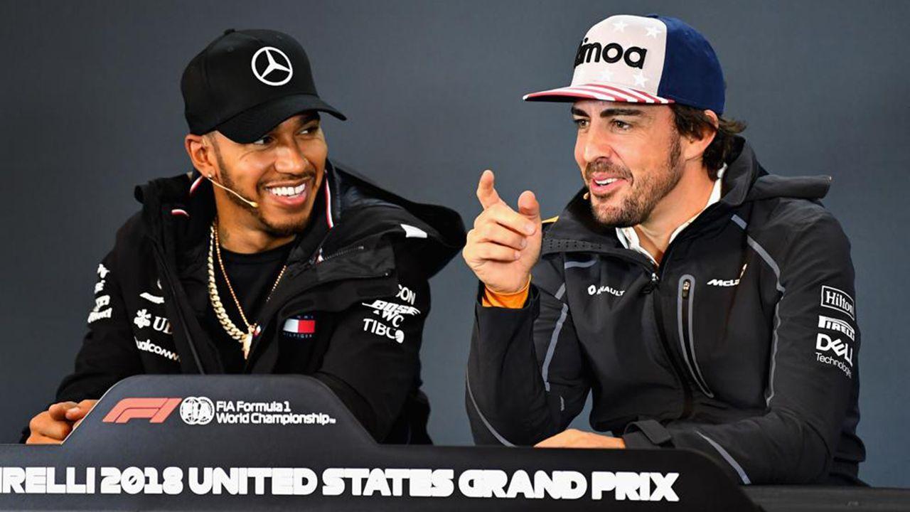 Hamilton y Alonso, en rueda de prensa, en Austin (EE.UU.)
