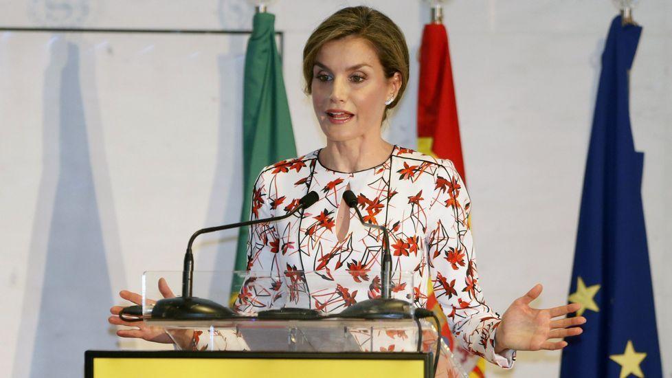 «Haberá mulleres traballadoras, pero as de Camariñas somos unhas delas».La reina lució este vestido en una jornada sobre tabaquismo en Oporto.