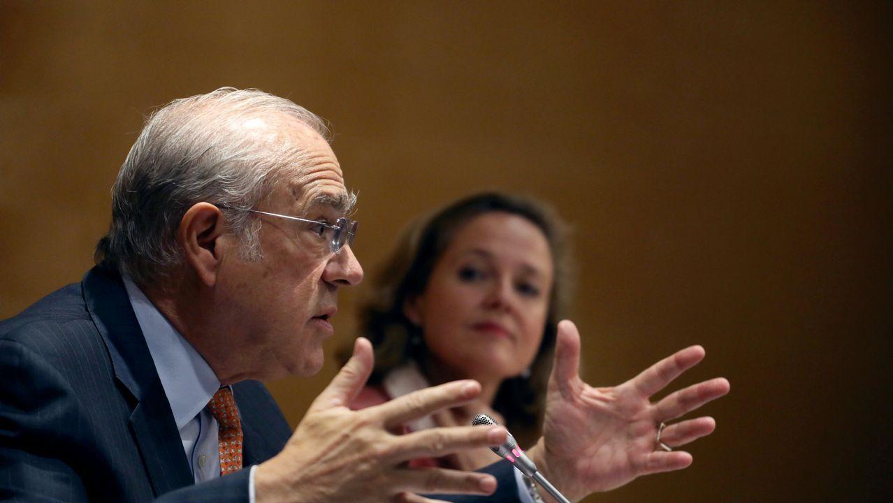 Banqueros en el banquillo.La ministra de Economía Nadia Calviño junto al secretario general de la OCDE, Ángel Gurría, este jueves en Madrid