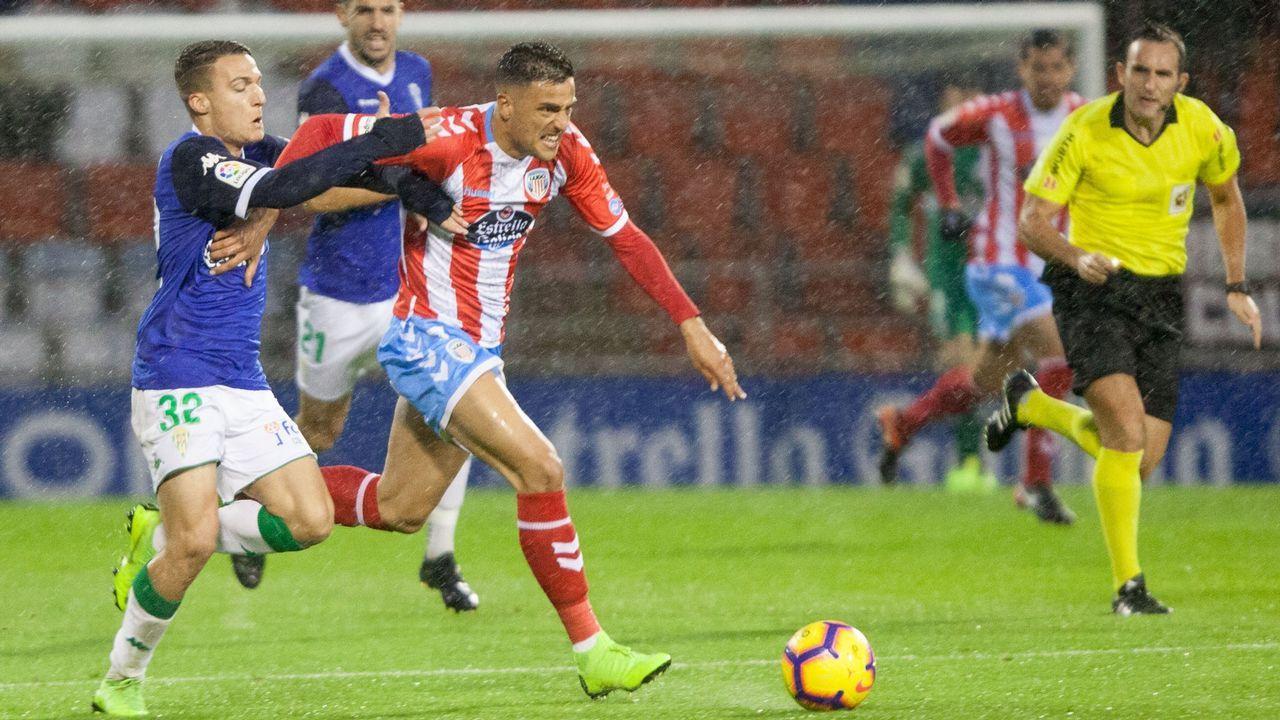 Los jugadores del Córdoba celebran un tanto ante el Mallorca