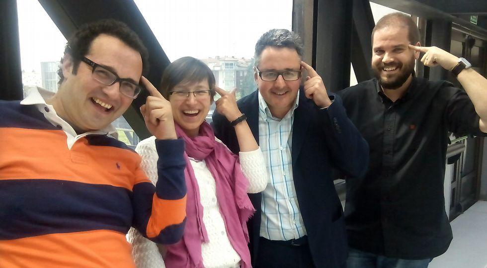 .Jesús Pérez, María Isabel Míguez, José Rúas e Iván Puentes, cuatro de los ocho integrantes del grupo de investigación Necom.