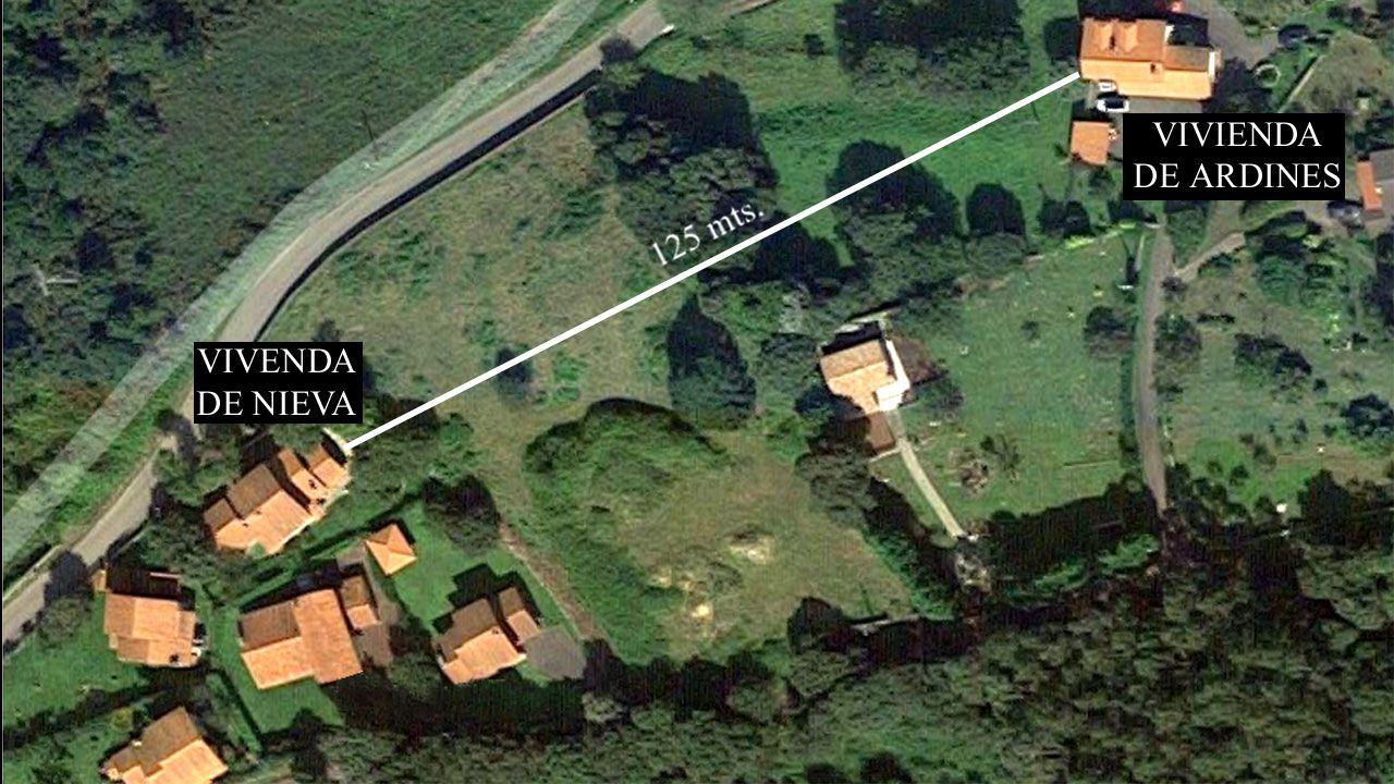 Las viviendas de Javier Ardines y Pedro Nieva, en una captura de Google Maps de Belmonte de Pría