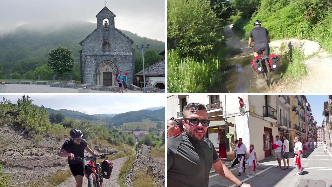 La belleza y la dureza del Camino reciben a los aventureros en Roncesvalles.Los peregrinos Laureano Coronado, Maite Parejo y Rafael Chánez, este miércoles, en Irache