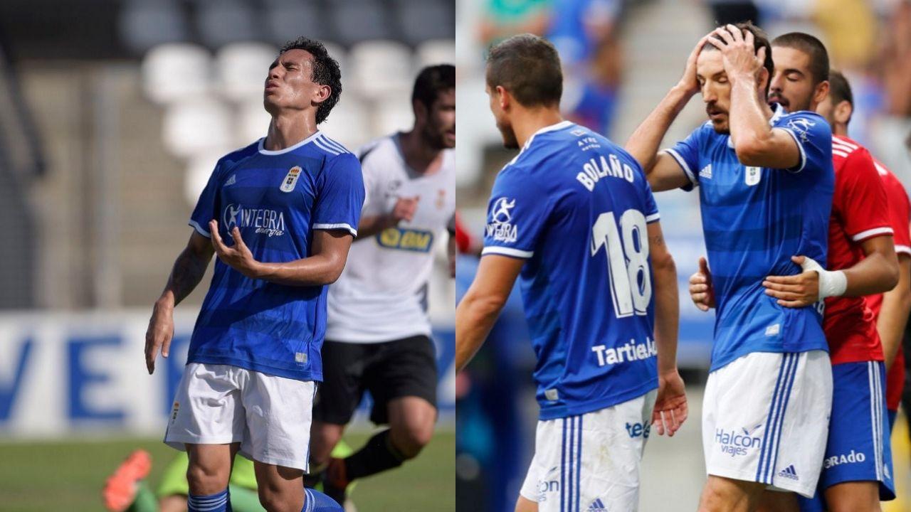 Steven y Toché se lamentan en un partido del Vetusta y del Real Oviedo, respectivamente