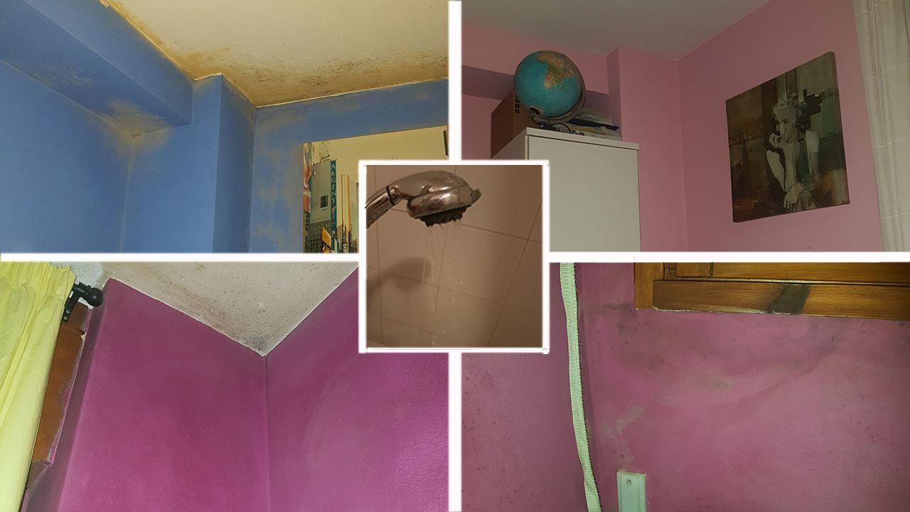 .En la parte de arriba, el cuarto de las niñas antes y después de pintarlo. Abajo, la humedad de la ventana del cuarto de Pilar y otra de la pared del cuarto. En el centro, el chorro que sale de la ducha