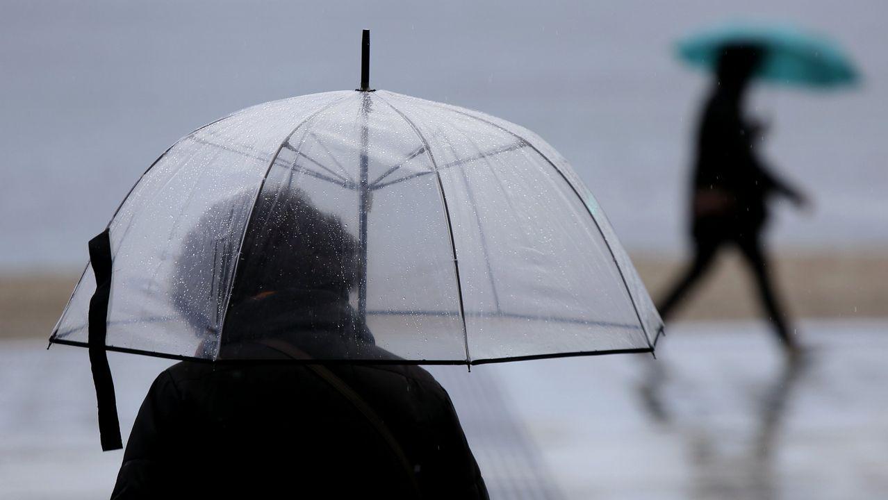 ¿Qué tiempo tendremos este miércoles?.Una calle de Oviedo bajo la lluvia