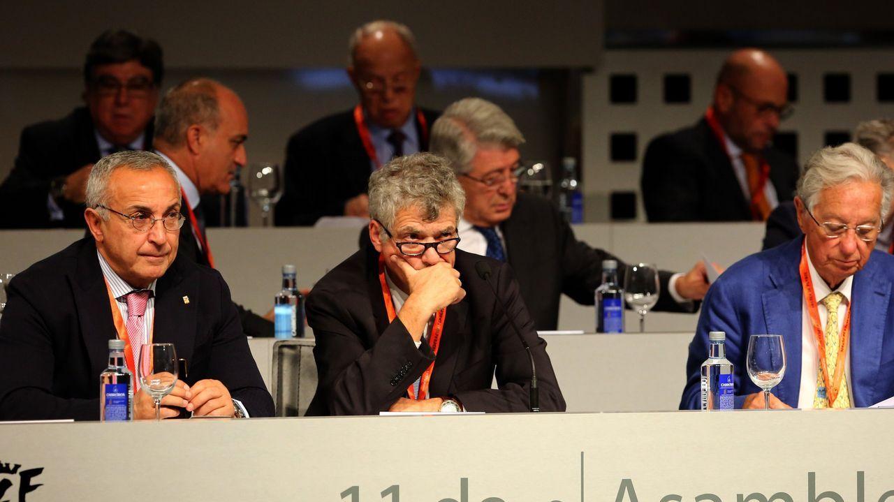 Villar, suspendido provisionalmente un año como presidente de la federación.Juan Luis Larrea, nuevo presidente de la Real Federación Española de Fútbol
