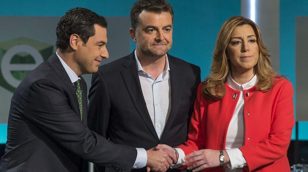 .Juanma Moreno, Antonio Maíllo y Susana Díaz