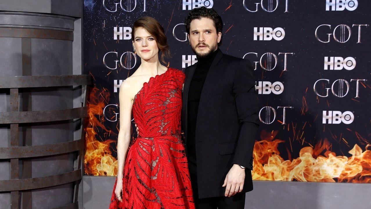 Leslie Rose y Kit Harington, en el estreno de la temporada final de «Game of Thrones» en Nueva York