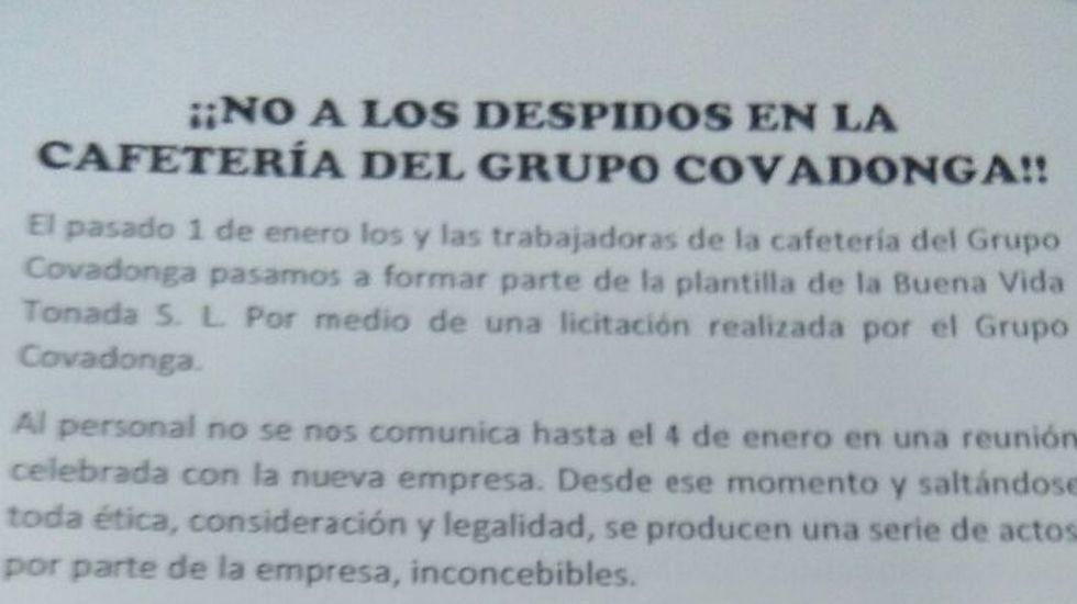 Octavillas contra los despidos de la cafetería del Grupo Covadonga