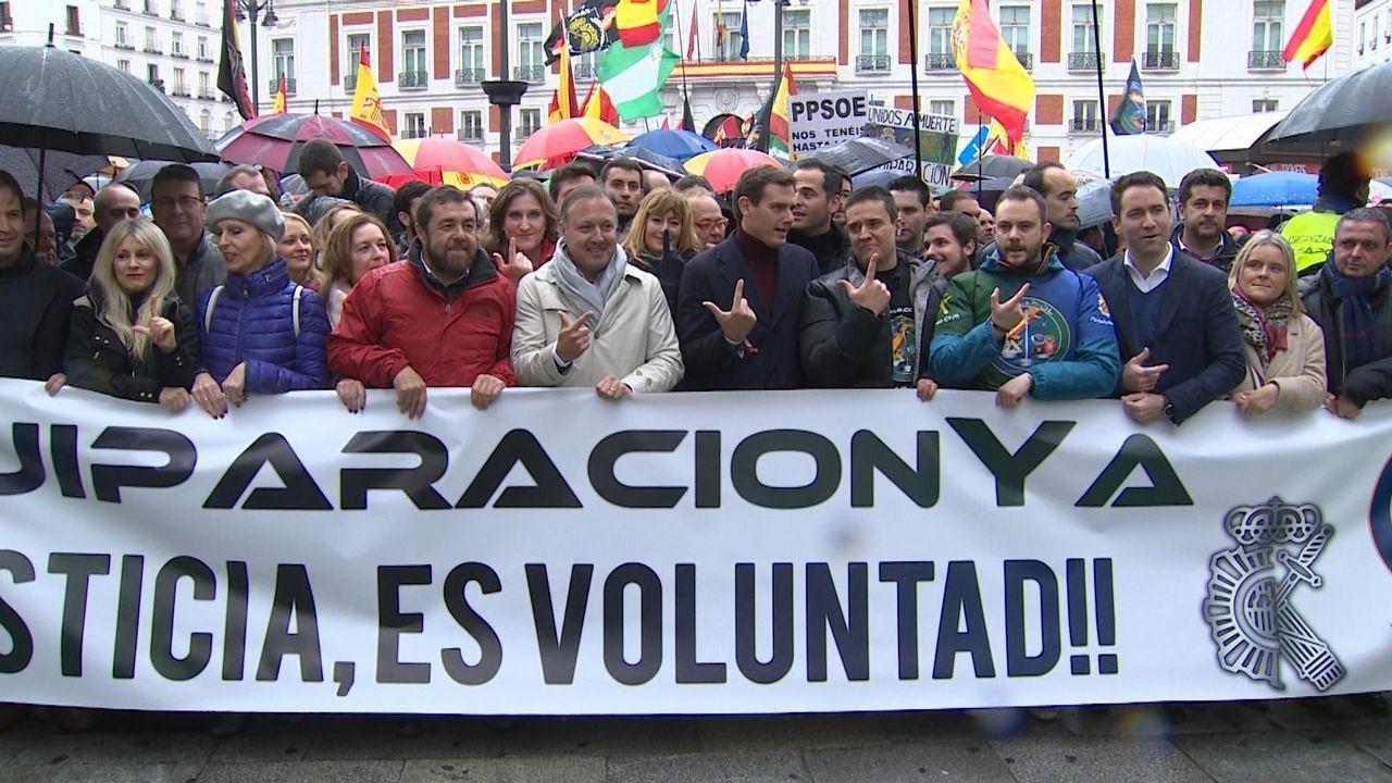 La manifestación policial contó con el apoyo de PP, Ciudadanos y Vox