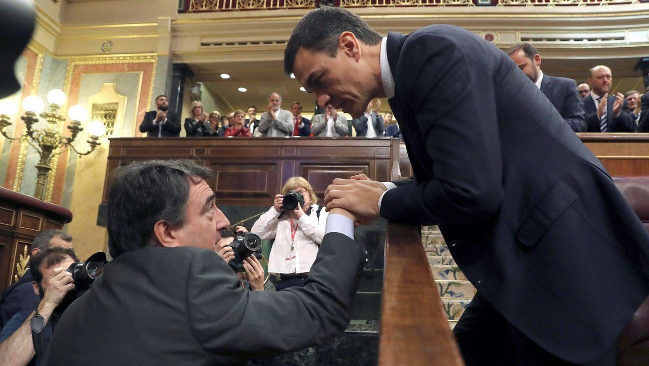 Pedro Sánchez saluda al portavos del PNV, Aitor Esteban.