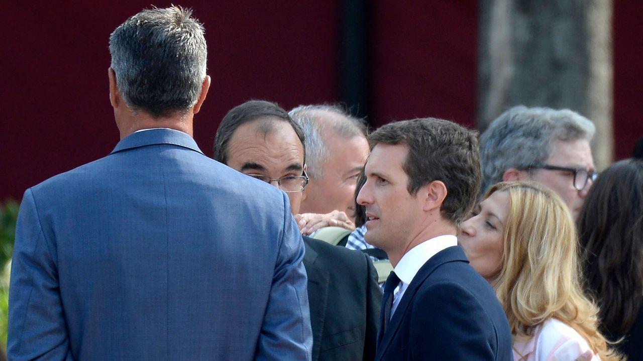 .El líder del PP, Pablo Casado, a su llegada a Barcelona para participar en los homenajes