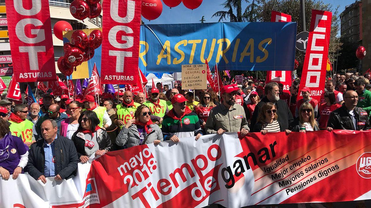 Movilizaciones para reclamar salarios dignos Oviedo CCOO.Manifestación del Primero de Mayo de 2018 en Asturias
