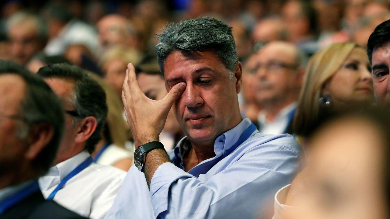 El líder del PP en Cataluña, Xavier García Albiol, se emociona durante el Congreso.
