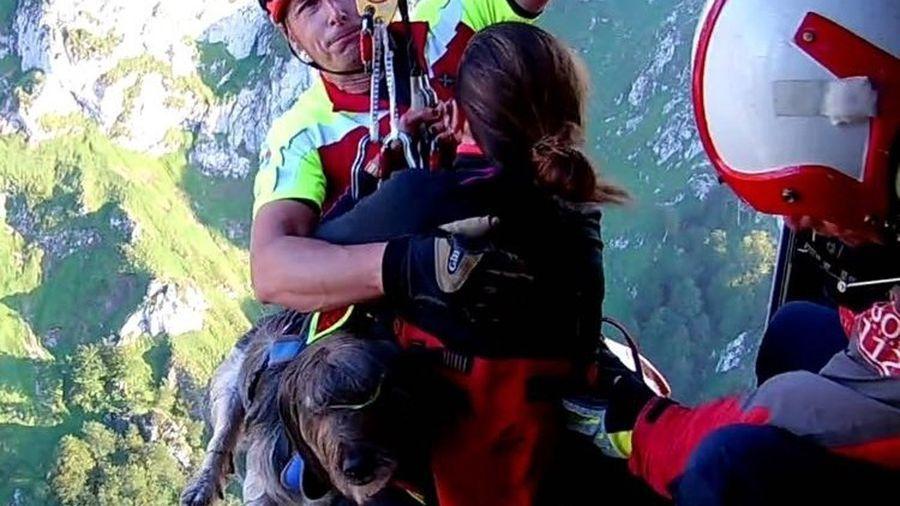 Dos senderistas y su perro, rescatados por un helicóptero en Picos de Europa.