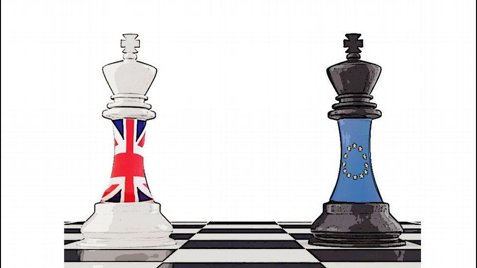 El negociador jefe de la UE, Michel Barnier, junto al ministros para la salida de la UE del Reino Unido, David Davis