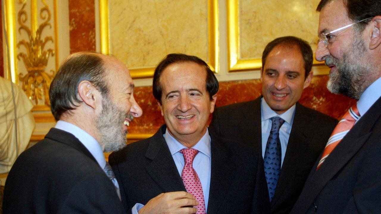 Alfredo Pérez Rubalcaba, Juan José Lucas, Francisco Camps y Mariano Rajoy durante la recepción oficial del XXVI aniversario de la Constitución