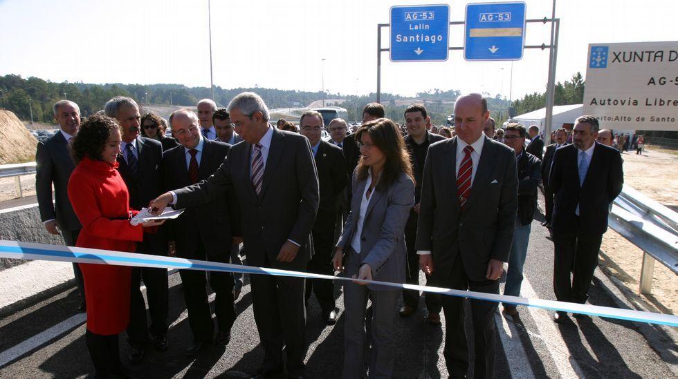 El presidente Touriño, inaugurando el nuevo vial en el año 2007
