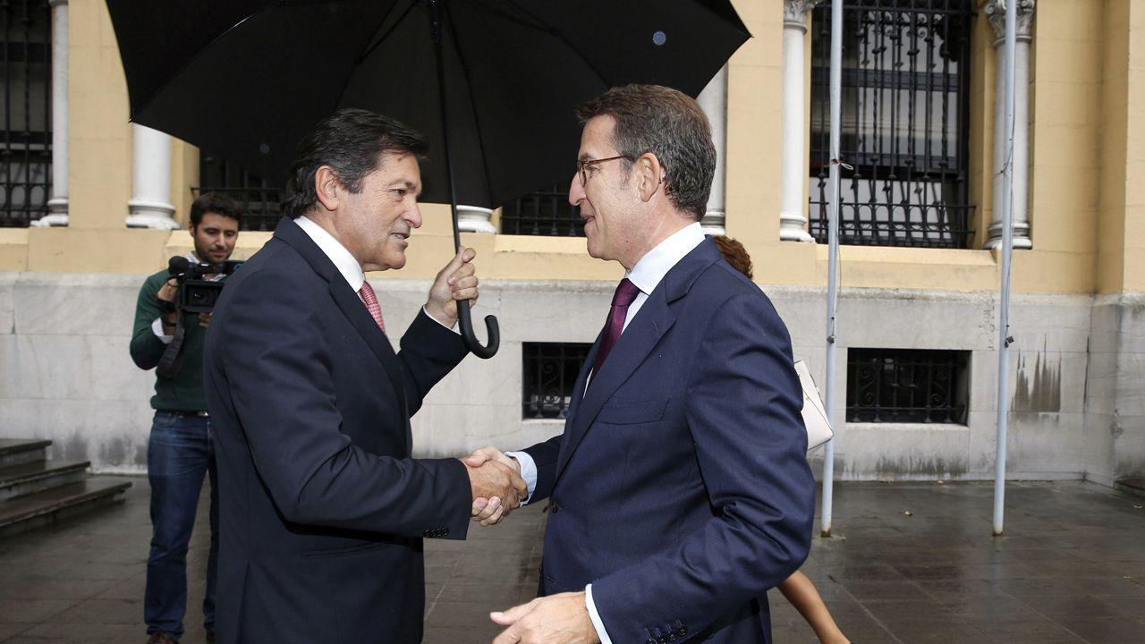 Culturgal: a festa da cultura galega.Javier Fernández recibe a Alberto Núñez Feijoo, en Oviedo
