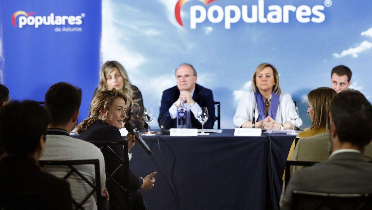 La candidata popular a la Presidencia del Principado, Teresa Mallada (i), durante su intervención en la reunión del Comité Ejecutivo Regional del PP de Asturias
